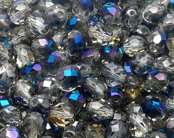 25pcs Czech Fire-Polished Faceted Glass Beads Round 8mm Crystal Blue Flare