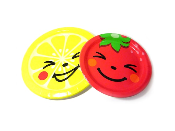 + ...  sc 1 st  Etsy Studio & Paper Plates / Set of 6 Large Kawaii Happy Face Fruit Party Lunch ...