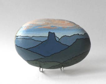 "Pebble painted ""Mt. needle"""