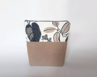 Medium Knitting Project Bag, Nature Leaves Zipper Project Bag, Earth colors Crafter Project Bag, Firm Fabric Zipper Pouch