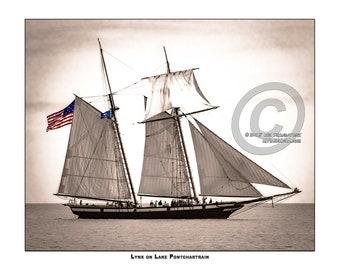 "11X14"" Custom Sepia Metallic Print Tall Ship ""The Lynx"" Sailing on Lake Pontchartrain"