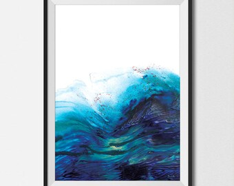 Printable Abstract Art, Seascape Painting, Digital Download, Abstract Seascape, Large wall art, Ocean Art, Ocean Print, A2 art Navy blue art