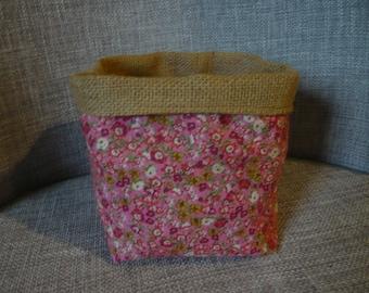 Pink liberty storage basket and burlap