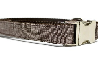 Brown Linen Tweed Dog Collar with Metal Buckle | Your choice of plastic or metal buckle | Brown Dog Collar | Tweed Dog Collar | Dog Collar