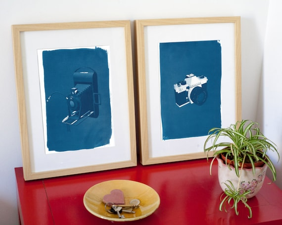 Pair of Vintage Cameras, 3d Renders of Analog Film Cameras, Cyanotype Print on Watercolor Paper, A4 size (Limited Edition)