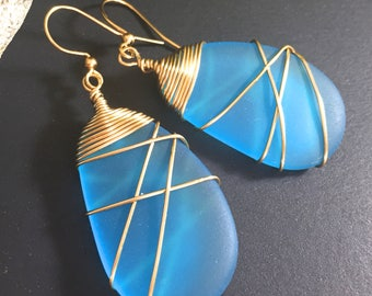 Sea Glass Earrings Handmade Beach Glass Wire Wrapped Blue Gold