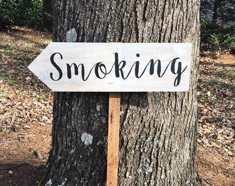 Smoking Sign, Smoking Area Sign, Rustic Wedding Signs, Barn Wood Wedding, Wooden Wedding Signs, Wedding Arrow Sign, Directional Sign Vintage