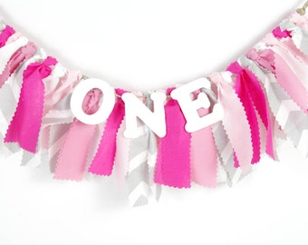 Pink, White and Gray Chevron Girl's Birthday Party - Girl's First Birthday - Garland - Bunting - Photoshoot Prop