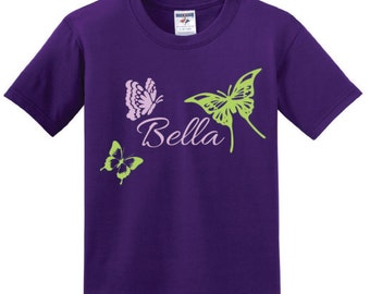 Butterfly Personalized T-Shirt for Girl - Youth Butterflies Short-sleeve Tee