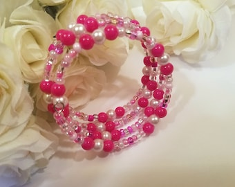 Pink Jewelry, Hot Pink Bracelet, Memory Wire Bracelet, Beaded Jewelry, Stacked Coil Bangle, Wrap Around Adjustable, No Clasp