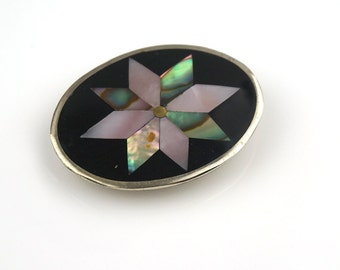Oval Alpaca Mexican Abstract Abalone Shell Brooch Pendant Pin Wheel Style Flower
