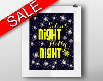 Wall Art Silent Night Holly Night Digital Print Silent Night Holly Night Poster Art Silent Night Holly Night Wall Art Print Silent Night