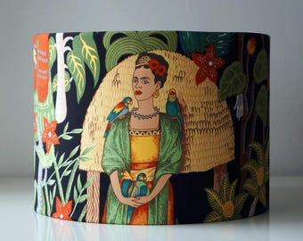Frida Khalo retro drum lampshade. Frida Kahlo, leaves, mexican, flowers