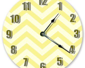 "10.5"" Yellow Chevron  Clock - Living Room Clock - Large 10.5"" Wall Clock - Home Décor Clock - 3371"