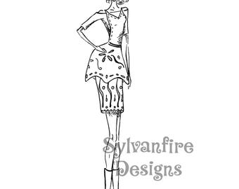 Girl with Apron Dress: Fashion Illustration