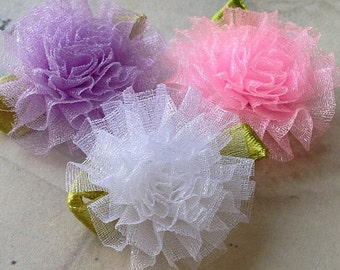 28 mm Organza Tiny Carnation Flowers of Assorted Colors (.tc)