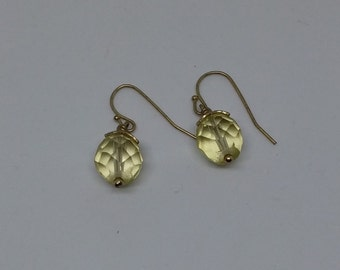 Retro citrine vintage glass drop earrings with gold plated hooks.