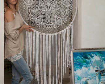 Inspiration and Protection Mandala wall hanging,large dreamcatcher,mandala painting,stair art,home decor,unique wedding gift,dream catcher,