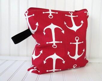 Wet Bag - Wet Dry Bag - Red Anchor Wet Bag - Wet Bathing Suit Bag