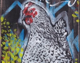 Chicken art, artwork of chicken, farmhouse style, country chicken, country style, country gifts, farm gifts, white and black chicken, art