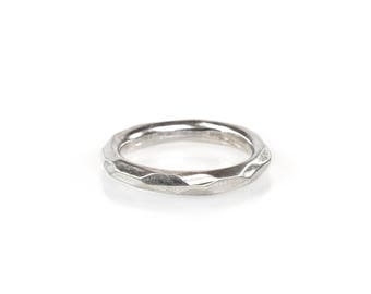 Faceted Silver Stack Ring, Facet Silver Band, Comfort Fit Silver Band, Refection Ring, Light Catching Facets, Sterling Facet Ring
