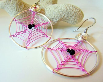 Earrings - Hot Pink Spider Webs, Dangly Cobweb Hoops, Halloween Jewelry, Spiderweb Jewelry, Spider in a Web Earrings, Wire Weave Spider Web