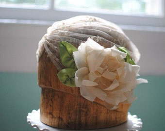 Lace Bridal Cap With Silk Flower
