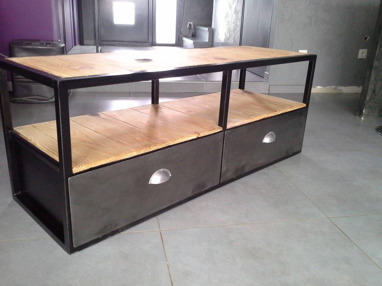meuble industriel tv acier bois vintage. Black Bedroom Furniture Sets. Home Design Ideas