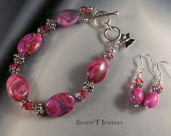 FREE SHIPPING - Pink Crazy Lace Agate and Sterling Silver Bracelet Set