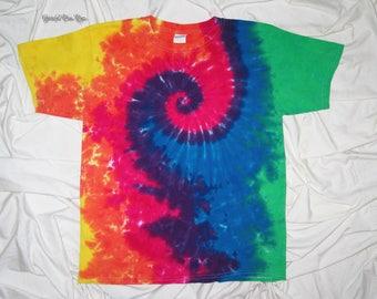 tye dye,  youth tee, tie dye grateful dan dyes, spiral tie dye, funky dyes, kids tie dye