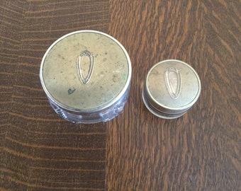 Art Deco Vanity Jars, powder jars, vanity set, 1953, brass lids, vintage cosmetic jars