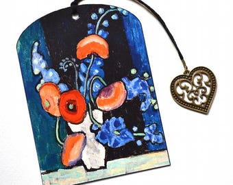 Mini Bookmark with Bronze Pendant - Painting - Bunch of Flowers - Handmade