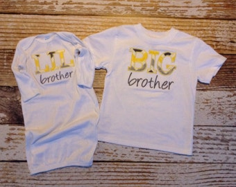 Matching appliqued BIG brother shirt and LIL brother baby gown