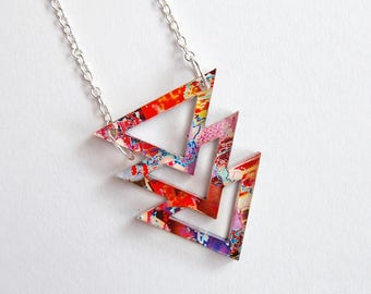 Geometric necklace - Colourful Necklace - Acrylic Necklace - festival jewellery - Triangle Necklace Illustration Silver Chain