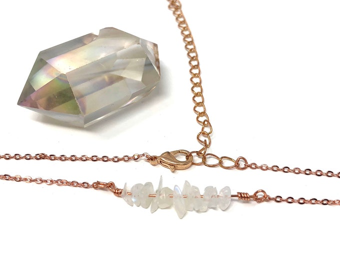 MOONSTONE: rose gold and raw moonstone necklace