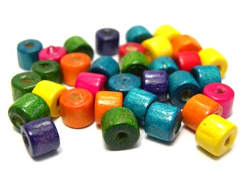 100x Wooden Cylinder Beads 7 mm x 6 mm - Mixed Colours