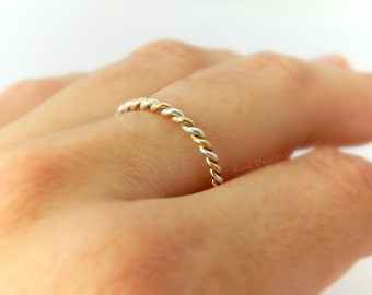 Gold Wedding Ring, Wedding Bands, White Gold Wedding Bands, Twist Ring, 14k Gold, Gold Band Ring, Twist Gold Ring