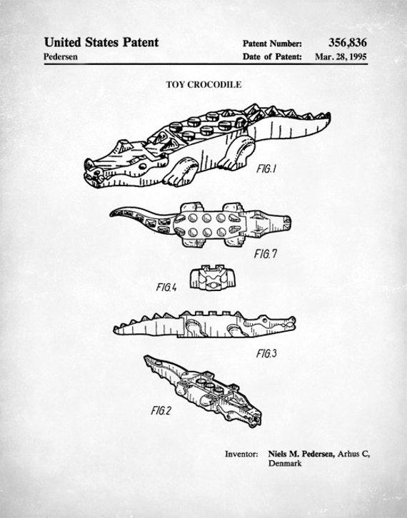 Patent Poster Lego Crocodile Patent Lego Crocodile Poster