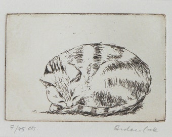 original etching of sleeping cat - Zzzz
