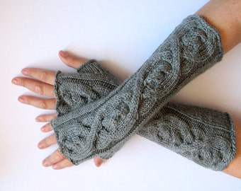 "Fingerless Gloves Gray 14"" wrist warmers"
