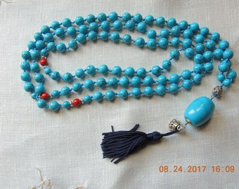 Healing Mala 108 for men and women /  Buddhist Prayer Beads - Meditation Bead Mala - 108 bead Mala - Turquoise Mala / Necklace  Handmade