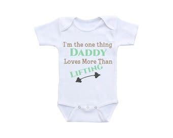 Lifting Baby Shirt or Gerber Onesie® Weight Lifting Daddy Onesie® Daddy and Son Daddy Daughter Daddy to Be Daddy Gifts New Dad Gift