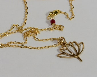 Lotos pendant 14K gold filled necklace Gold Jewelry
