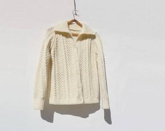 SALE Vintage Aran Sweater Aran Cardigan 60s Wool Cardigan Vintage Aran Sweater Fisherman Knit s