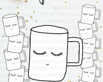 Coffee Cup Girl Digital Bundle   Clip Art & Digital Paper   For use in Planner, Bullet Journal, Travelers Notebook, Erin Condren, etc.