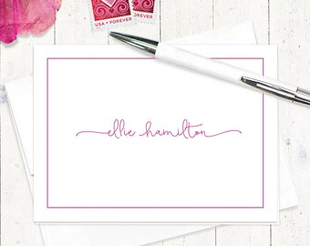 personalized stationery set - PERFECTLY CHARMING - set of 8 folded note cards - girl stationary