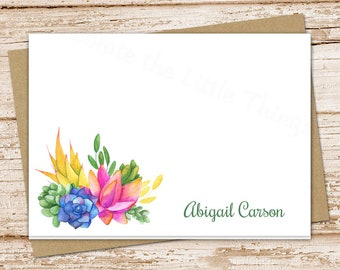 personalized succulents note cards, notecards set . succulents stationery . watercolor plants . folded stationary . set of 8
