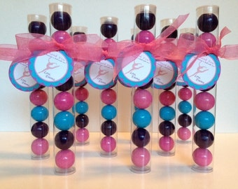 Gymnast Party, Girly Gymnast Party, Gymnast  Gumball Tube Party Favors, Pink, Purple, Turquoise, Set of 12 with Personalized Tags and Ribbon