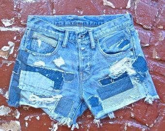 Destroyed Patchwork Denim Shorts