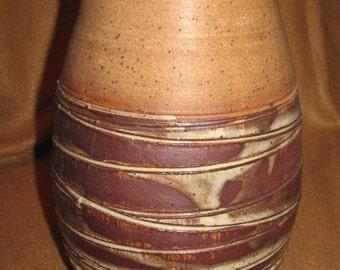 Large Brown and Tan Stoneware Vase